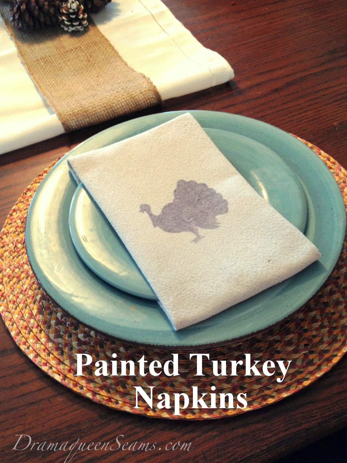 Painted turkey napkins drama queen seams for Turkey napkins