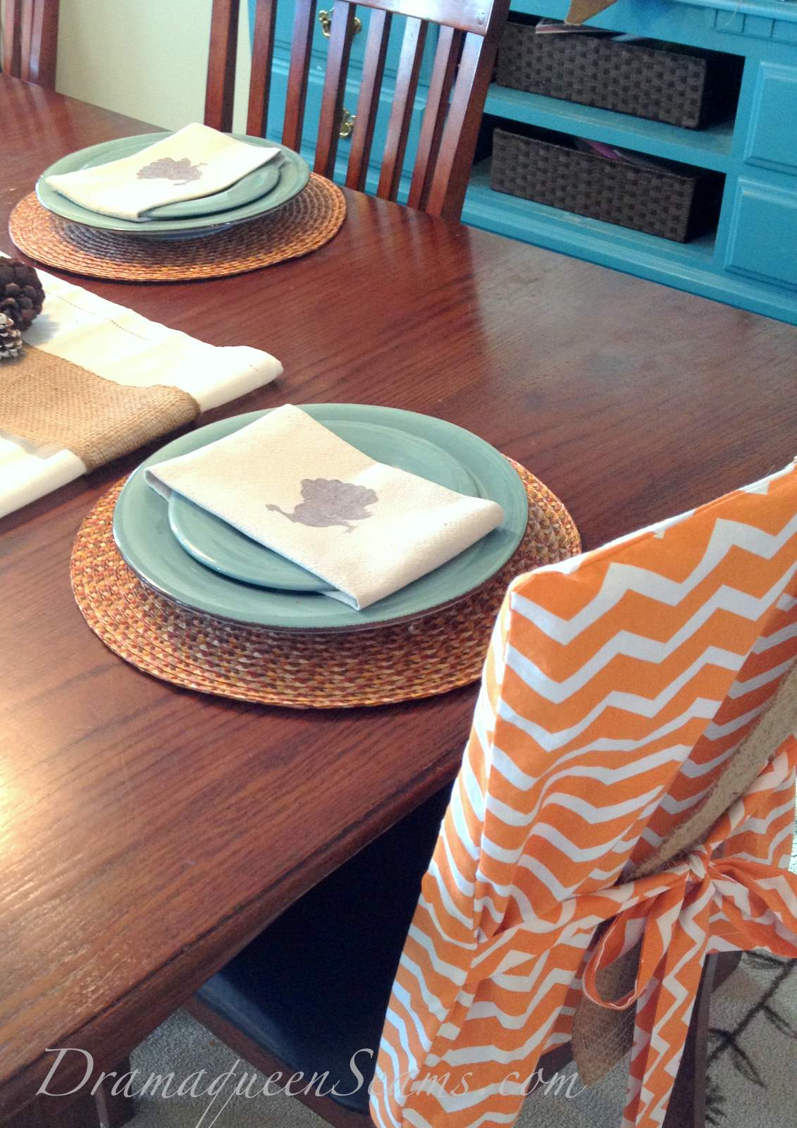 Terrific Chevron Burlap Dinning Room Chair Covers Drama Queen Seams Gmtry Best Dining Table And Chair Ideas Images Gmtryco